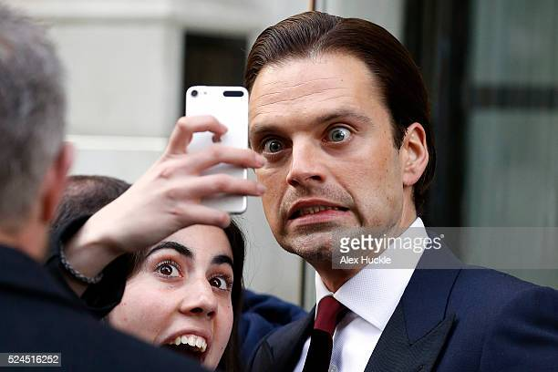 Actor Sebastian Stan leaves the Corinthia Hotel ahead of the Captain America Civil War UK premiere on April 26 2016 in London England