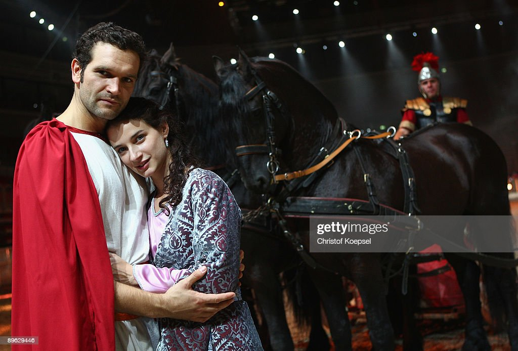 Actor Sebastian Thrun as Judah Ben Hur and actor Lil Gesler as Esther pose during the Ben Hur live show presentation at the ISS Dome on August 6, 2009 in Duesseldorf, Germany.
