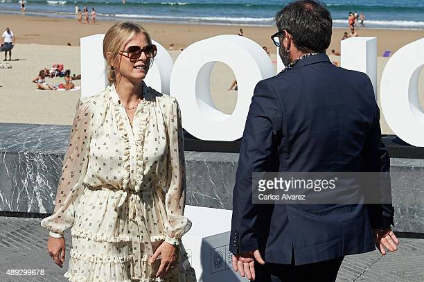 Actor Sergi Lopez and actress Karin Viard attend the '21 Nuits Avec Pattie' photocall at the Kursaal Palace during the 63rd San Sebastian Film...