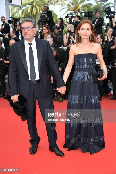 Actor Sergio Castellitto and Actress Margaret Mazzantin attend the 70th Anniversary Ceremony of Cannes Film Festival in Cannes France on May 23 2017