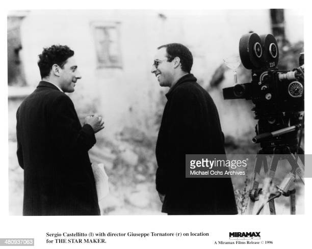 Actor Sergio Castellitto and director Giuseppe Tornatore on the set of the movie 'The Star Maker' circa 1995