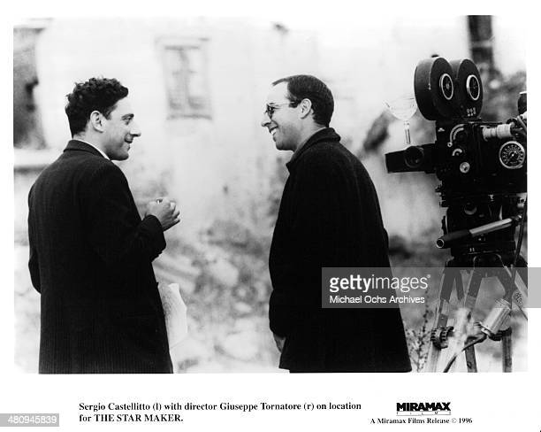 Actor Sergio Castellitto and director Giuseppe Tornatore on the set of the movie 'The Star Maker ' circa 1995