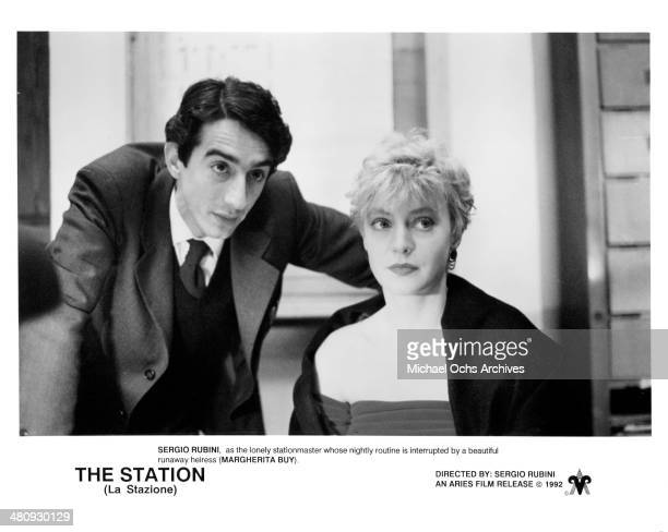 Actor Sergio Rubini and actress Margherita Buy in a scene from the movie 'The Station' circa 1990