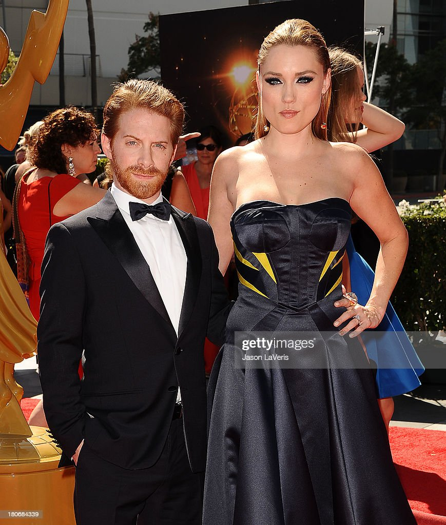 Actor Seth Green and actress Clare Grant attend the 2013 Creative Arts Emmy Awards at Nokia Theatre LA Live on September 15 2013 in Los Angeles...