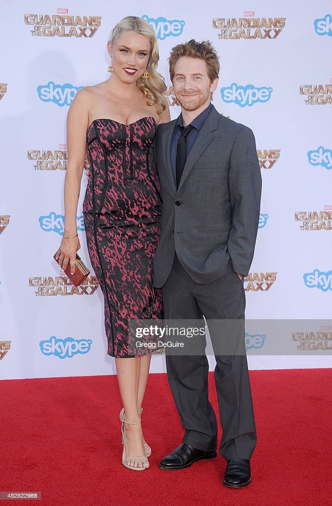 Actor Seth Green and Clare Grant arrive at the Los Angeles premiere of Marvel's 'Guardians Of The Galaxy' at the El Capitan Theatre on July 21 2014...
