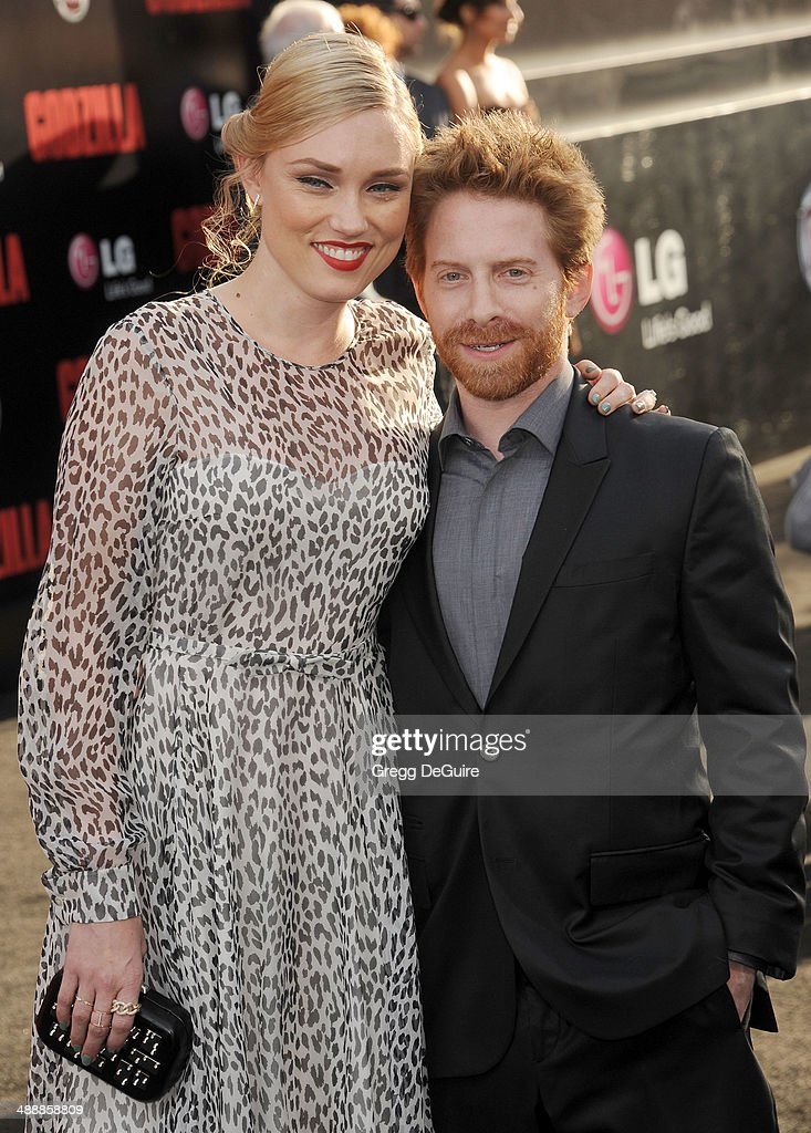 Actor Seth Green and Clare Grant arrive at the Los Angeles premiere of 'Godzilla' at Dolby Theatre on May 8 2014 in Hollywood California