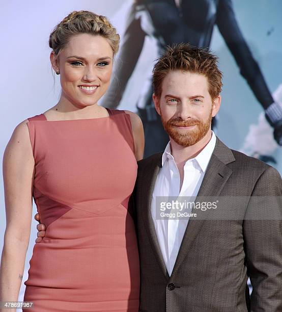 Actor Seth Green and wife Clare Grant arrive at the Los Angeles premiere of 'Captain America The Winter Soldier' at the El Capitan Theatre on March...