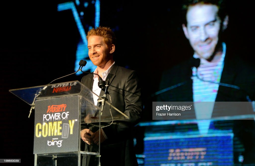 Actor <a gi-track='captionPersonalityLinkClicked' href=/galleries/search?phrase=Seth+Green&family=editorial&specificpeople=206390 ng-click='$event.stopPropagation()'>Seth Green</a> speaks onstage at Variety's 3rd annual Power of Comedy event presented by Bing benefiting the Noreen Fraser Foundation held at Avalon on November 17, 2012 in Hollywood, California.
