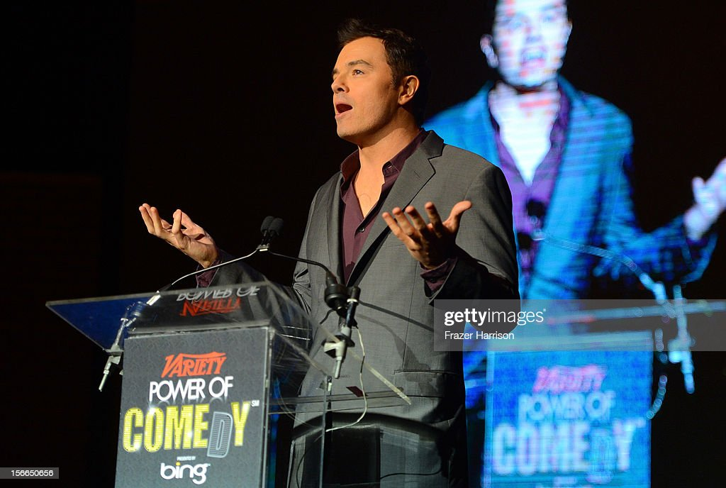 Actor Seth MacFarlane onstage at Variety's 3rd annual Power of Comedy event presented by Bing benefiting the Noreen Fraser Foundation held at Avalon on November 17, 2012 in Hollywood, California.