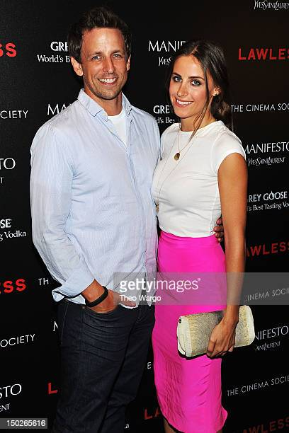 Actor Seth Meyers and Alexi Ashe attend The Cinema Society Manifesto Yves Saint Laurent screening of The Weinstein Company's 'Lawless' at The Paley...