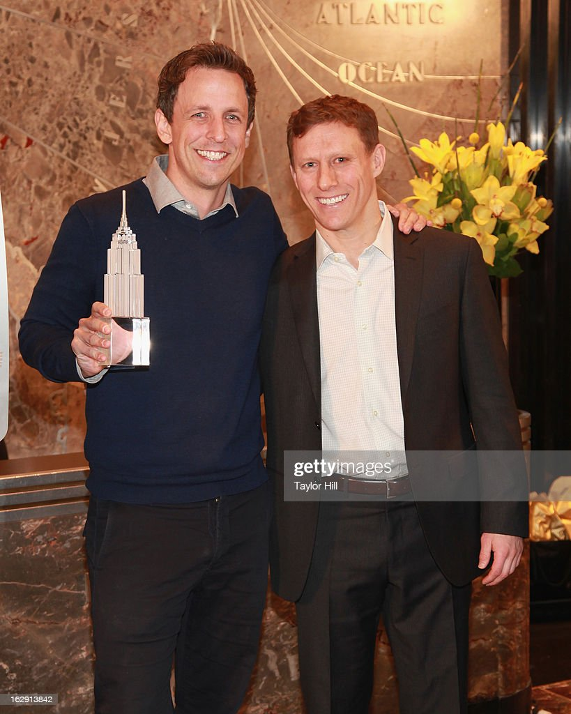Actor <a gi-track='captionPersonalityLinkClicked' href=/galleries/search?phrase=Seth+Meyers&family=editorial&specificpeople=618859 ng-click='$event.stopPropagation()'>Seth Meyers</a> and Cycle for Survival co-founder David Linn light The Empire State Building for Cycle for Survival on March 1, 2013 in New York City.