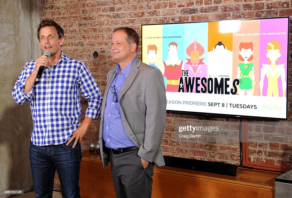 Actor Seth Meyers (L) and executive producer Michael Shoemaker speak during 'The Awesomes' Season 3 Premiere Party & Screening at Microsoft Lounge on September 2, 2015 in New York City.