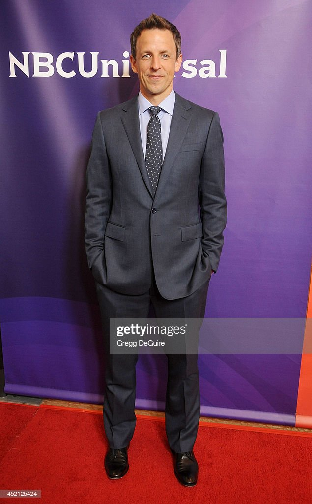 Actor <a gi-track='captionPersonalityLinkClicked' href=/galleries/search?phrase=Seth+Meyers&family=editorial&specificpeople=618859 ng-click='$event.stopPropagation()'>Seth Meyers</a> arrives at the 2014 Television Critics Association Summer Press Tour - NBCUniversal - Day 1 at The Beverly Hilton Hotel on July 13, 2014 in Beverly Hills, California.