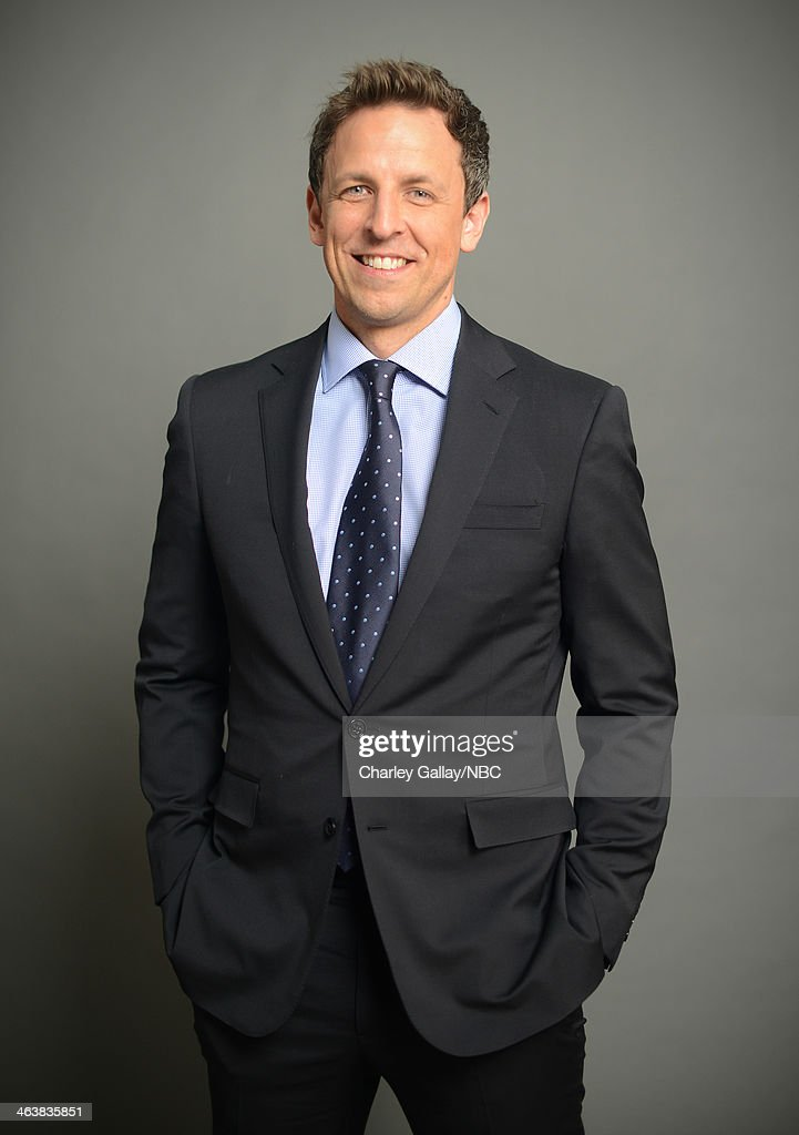 Actor <a gi-track='captionPersonalityLinkClicked' href=/galleries/search?phrase=Seth+Meyers&family=editorial&specificpeople=618859 ng-click='$event.stopPropagation()'>Seth Meyers</a> attends the 2014 NBCUniversal TCA Winter Press Tour Portraits at Langham Hotel on January 19, 2014 in Pasadena, California.