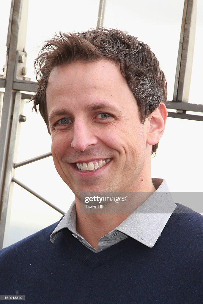 Actor <a gi-track='captionPersonalityLinkClicked' href=/galleries/search?phrase=Seth+Meyers&family=editorial&specificpeople=618859 ng-click='$event.stopPropagation()'>Seth Meyers</a> lights The Empire State Building to promote Cycle for Survival on March 1, 2013 in New York City.