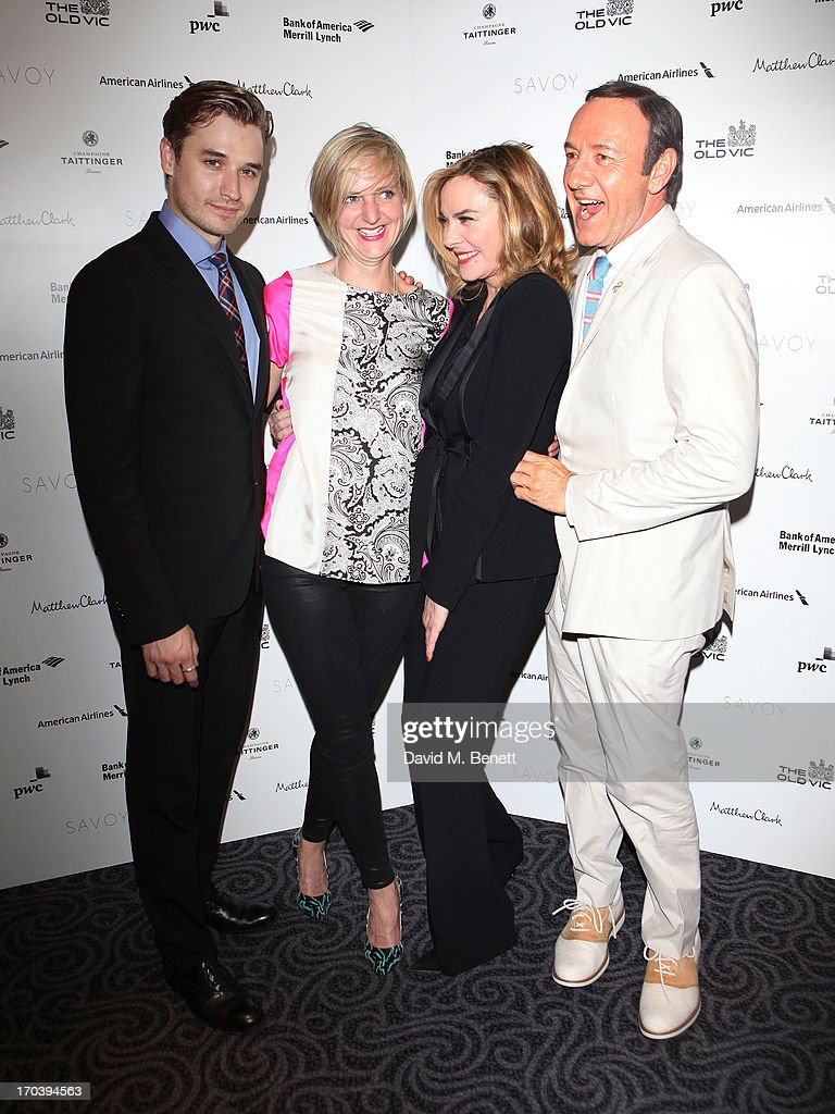 Actor Seth Numrich, director Marianne Elliott Actor <a gi-track='captionPersonalityLinkClicked' href=/galleries/search?phrase=Kim+Cattrall&family=editorial&specificpeople=202214 ng-click='$event.stopPropagation()'>Kim Cattrall</a> and actor <a gi-track='captionPersonalityLinkClicked' href=/galleries/search?phrase=Kevin+Spacey&family=editorial&specificpeople=202091 ng-click='$event.stopPropagation()'>Kevin Spacey</a> attend an after party following the press night performance of The Old Vic's 'Sweet Bird of Youth' at The Savoy Hotel on June 12, 2013 in London, England.