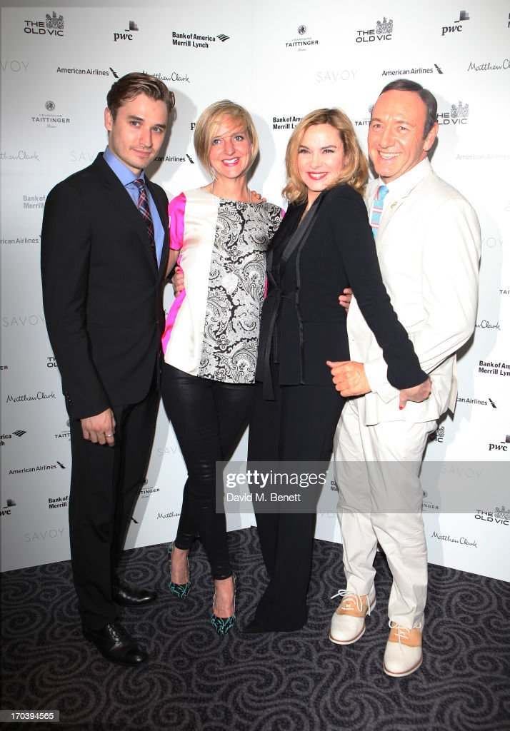 Actor Seth Numrich, director Marianne Elliott Actor Kim Cattrall and actor Kevin Spacey attend an after party following the press night performance of The Old Vic's 'Sweet Bird of Youth' at The Savoy Hotel on June 12, 2013 in London, England.
