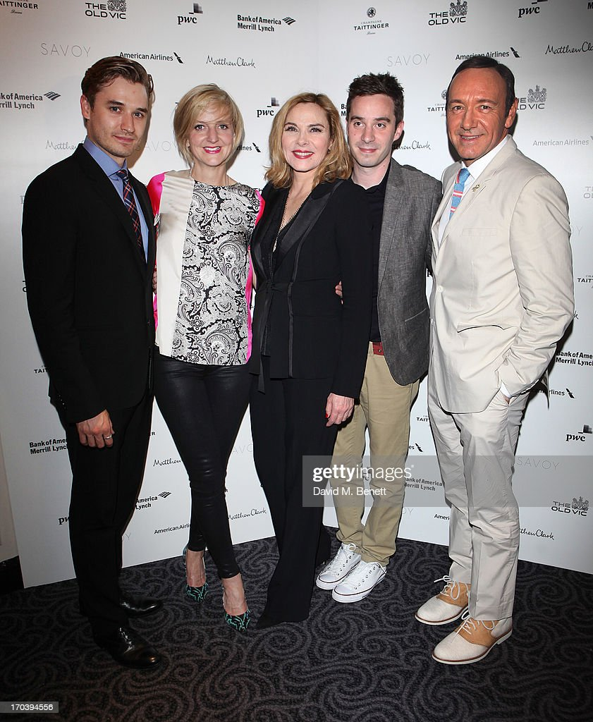 Actor Seth Numrich, director Marianne Elliott Actor Kim Cattrall, writer James Graham and actor Kevin Spacey attend an after party following the press night performance of The Old Vic's 'Sweet Bird of Youth' at The Savoy Hotel on June 12, 2013 in London, England.