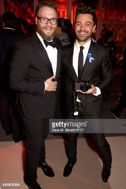 Actor Seth Rogen and Dominic Cooper attend the 2017 Vanity Fair Oscar Party hosted by Graydon Carter at Wallis Annenberg Center for the Performing...