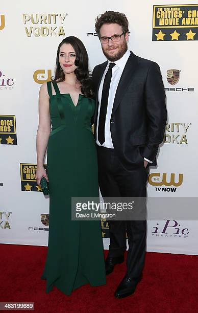 Actor Seth Rogen and wife actress Lauren Miller attend the 19th Annual Critics' Choice Movie Awards at Barker Hangar on January 16 2014 in Santa...