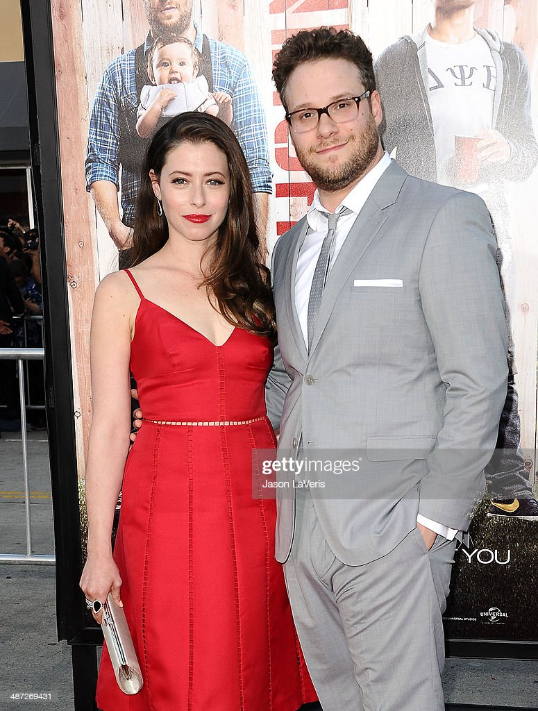 Actor <a gi-track='captionPersonalityLinkClicked' href=/galleries/search?phrase=Seth+Rogen&family=editorial&specificpeople=3733304 ng-click='$event.stopPropagation()'>Seth Rogen</a> (R) and wife Lauren Miller attend the premiere of 'Neighbors' at Regency Village Theatre on April 28, 2014 in Westwood, California.