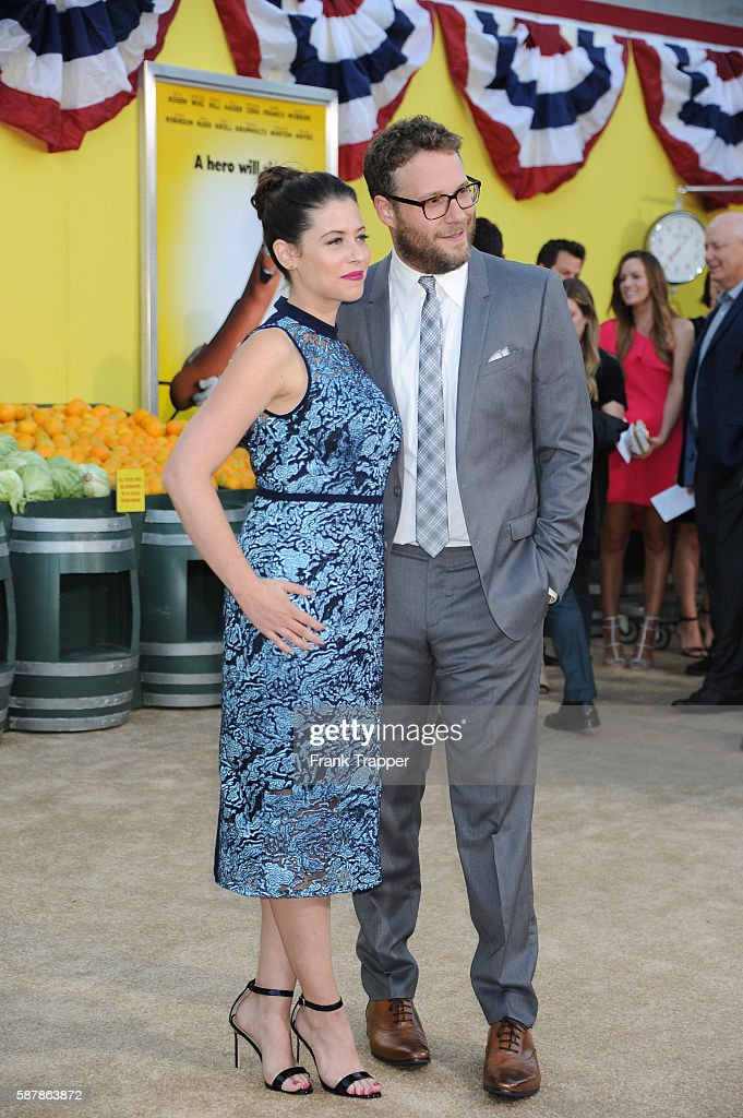 Actor Seth Rogen and wifeactress Lauren Miller attend the premiere of Sony's 'Sausage Party' held at the Regency Village Theater on August 9 2016 in...