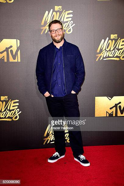 Actor Seth Rogen attends the 2016 MTV Movie Awards at Warner Bros Studios on April 9 2016 in Burbank California MTV Movie Awards airs April 10 2016...
