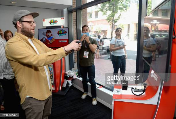 Actor Seth Rogen from the Hulu series 'Future Man' stopped by Nintendo at the TV Insider Lounge to check out Nintendo Switch during ComicCon...