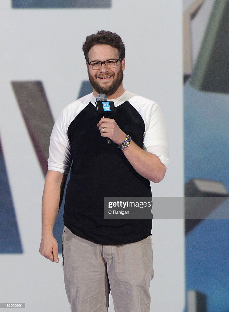 Actor <a gi-track='captionPersonalityLinkClicked' href=/galleries/search?phrase=Seth+Rogen&family=editorial&specificpeople=3733304 ng-click='$event.stopPropagation()'>Seth Rogen</a> speaks onstage during the 1st Annual 'We Day' California at ORACLE Arena on March 26, 2014 in Oakland, California.