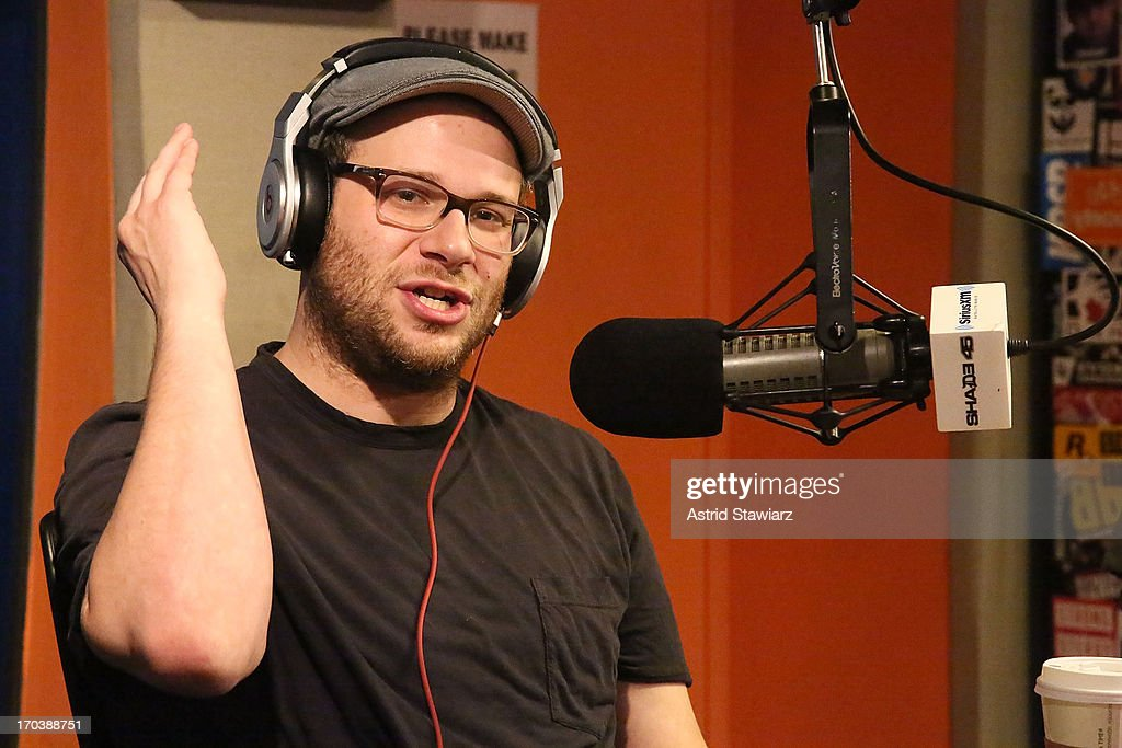 Actor <a gi-track='captionPersonalityLinkClicked' href=/galleries/search?phrase=Seth+Rogen&family=editorial&specificpeople=3733304 ng-click='$event.stopPropagation()'>Seth Rogen</a> visits 'Sway in the Morning' on Eminem's Shade 45 channel' at SiriusXM Studios on June 12, 2013 in New York City.