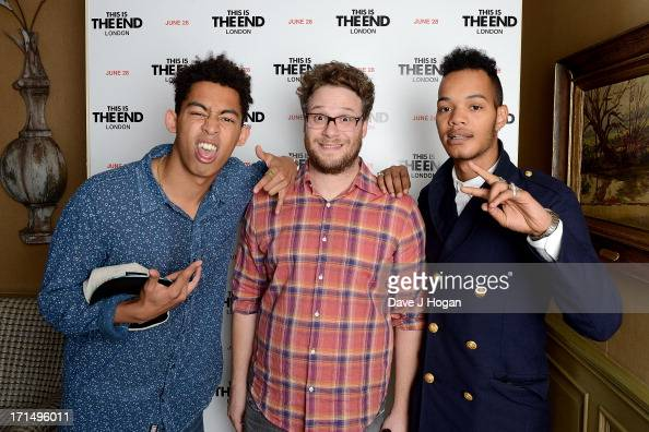 Actor Seth Rogen with Jordan Stephens and Harley AlexanderSule of the Rizzle Kicks attend the 'This Is The End' Special Screening at the Charlotte...