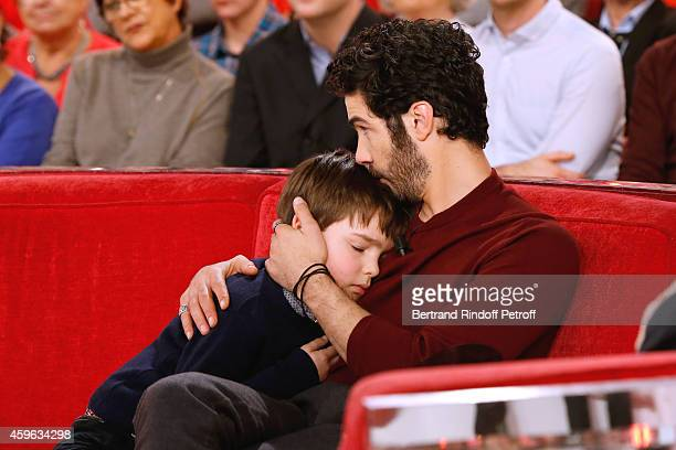 Actor seven years old Victor Cabal and actor Tahar Rahim present the movie 'Le Pere Noel' during the 'Vivement Dimanche' French TV Show at Pavillon...