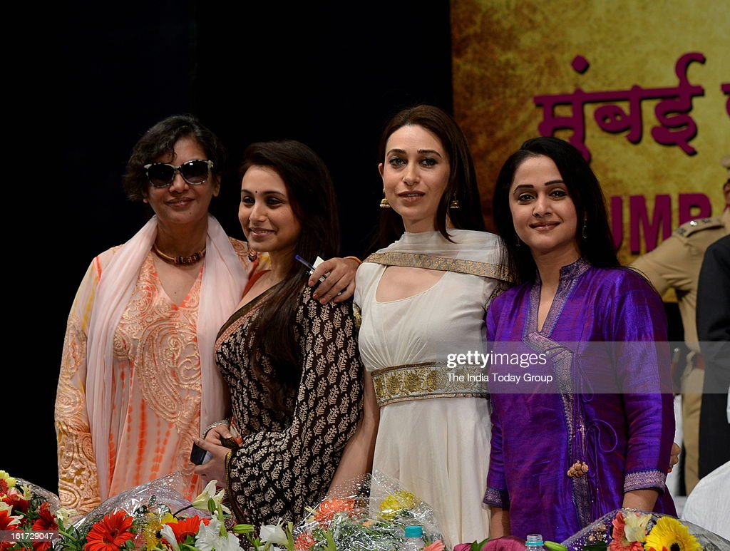 Actor Shabana Azmi, Rani Mukerji, Karisma Kapoor and Mrinal Dev-Kulkarni at the function organised to create awareness among women as a part of the ongoing drive initiated by the Mumbai Police.