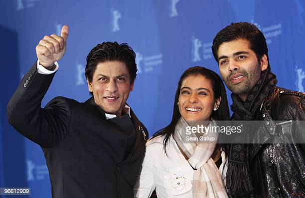 Actor Shah Rukh Khan actress Kajol Devgan and director Karan Johar attends the 'My Name Is Khan' Photocall during day two of the 60th Berlin...