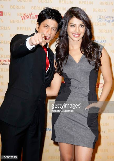 Actor Shah Rukh Khan and actress Priyanka Chopra attend a photo call for the film DON 2 at Friedrichstadtpalast on October 22 2010 in Berlin Germany...