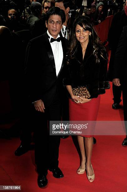 Actor Shahrukh Khan and his wife Gauri attend the 'Don The King Is Back' Premiere during day three of the 62nd Berlin International Film Festival at...
