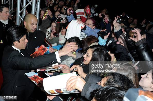 Actor Shahrukh Khan greets fans at the 'Don The King Is Back' Premiere during day three of the 62nd Berlin International Film Festival at the...