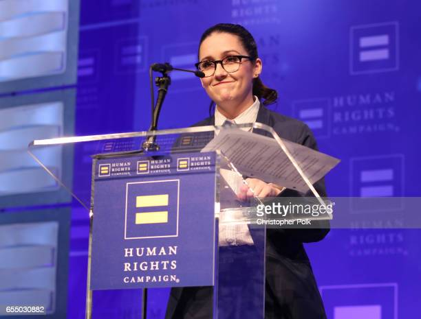 Actor Shannon Woodward speaks onstage at The Human Rights Campaign 2017 Los Angeles Gala Dinner at JW Marriott Los Angeles at LA LIVE on March 18...