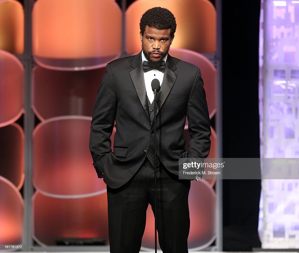 Actor <a gi-track='captionPersonalityLinkClicked' href=/galleries/search?phrase=Sharif+Atkins&family=editorial&specificpeople=2647537 ng-click='$event.stopPropagation()'>Sharif Atkins</a> speaks during the 21st Annual Movieguide Awards at the Universal Hilton Hotel on February 15, 2013 in Universal City, California.