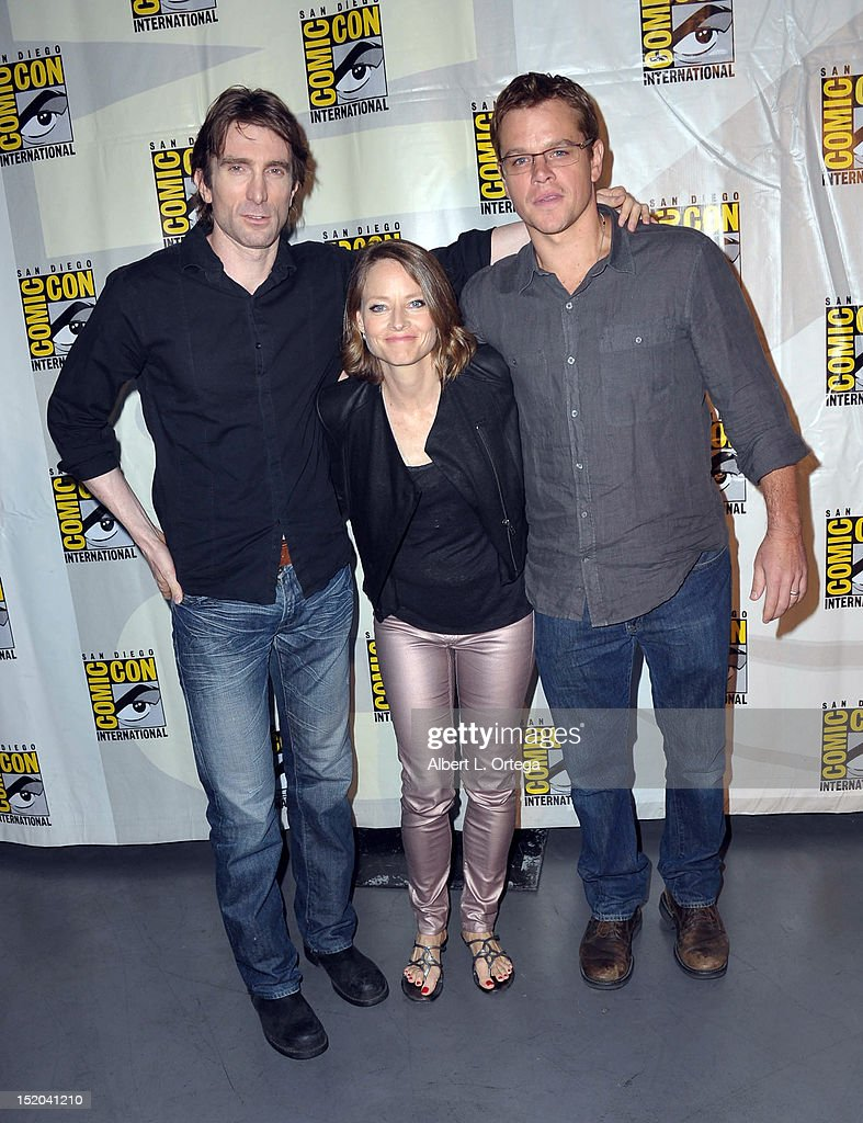 Actor Sharlto Copley, actress Jodie Foster and actor Matt Damon participate in The Sony Preview featuring 'Elysium' Panel - Comic-Con International 2012 held at San Diego Convention Center on July 12, 2012 in San Diego, California.