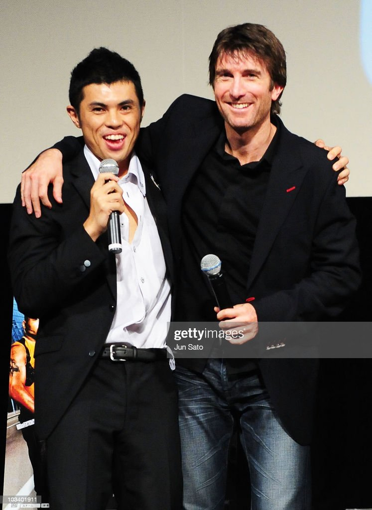 Actor Sharlto Copley and comedian Yoshio Kojima arrive at 'The ATeam' movie premiere on August 16 2010 in Tokyo Japan The film will open on August 20...