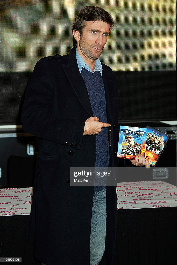 Actor Sharlto Copley signs copies of DVD 'The ATeam' at HMV Oxford Street on November 29 2010 in London England
