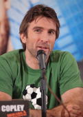 Actor Sharlto Copley speaks during 'The ATeam' press conference at the Four Seasons Hotel on June 1 2010 in Mexico City Mexico