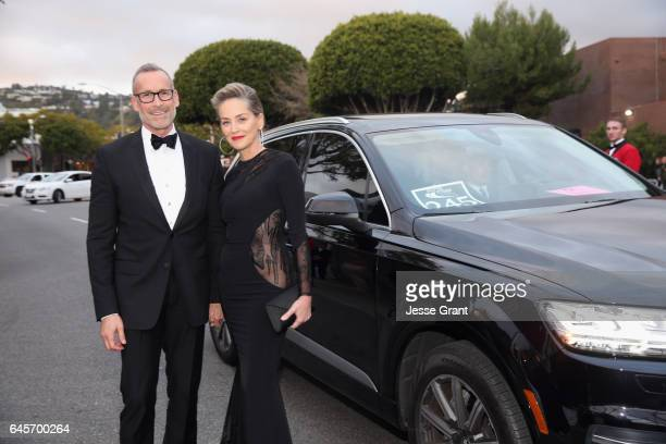 Actor Sharon Stone arrives in an Audi Q7 to the 25th Annual Elton John AIDS Foundation's Academy Awards Viewing Party at The City of West Hollywood...