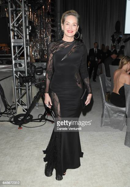 Actor Sharon Stone attends Bulgari at the 25th Annual Elton John AIDS Foundation's Academy Awards Viewing Party at on February 26 2017 in Los Angeles...