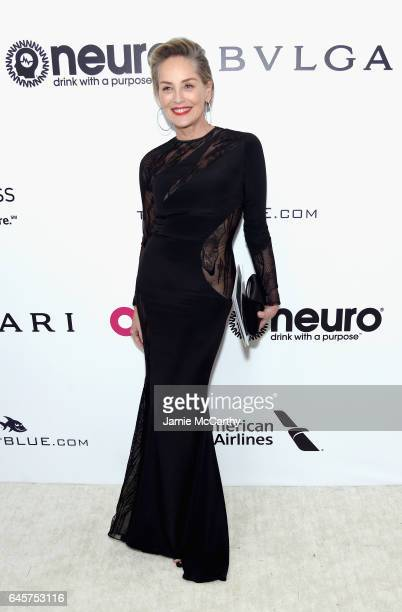 Actor Sharon Stone attends the 25th Annual Elton John AIDS Foundation's Academy Awards Viewing Party at The City of West Hollywood Park on February...