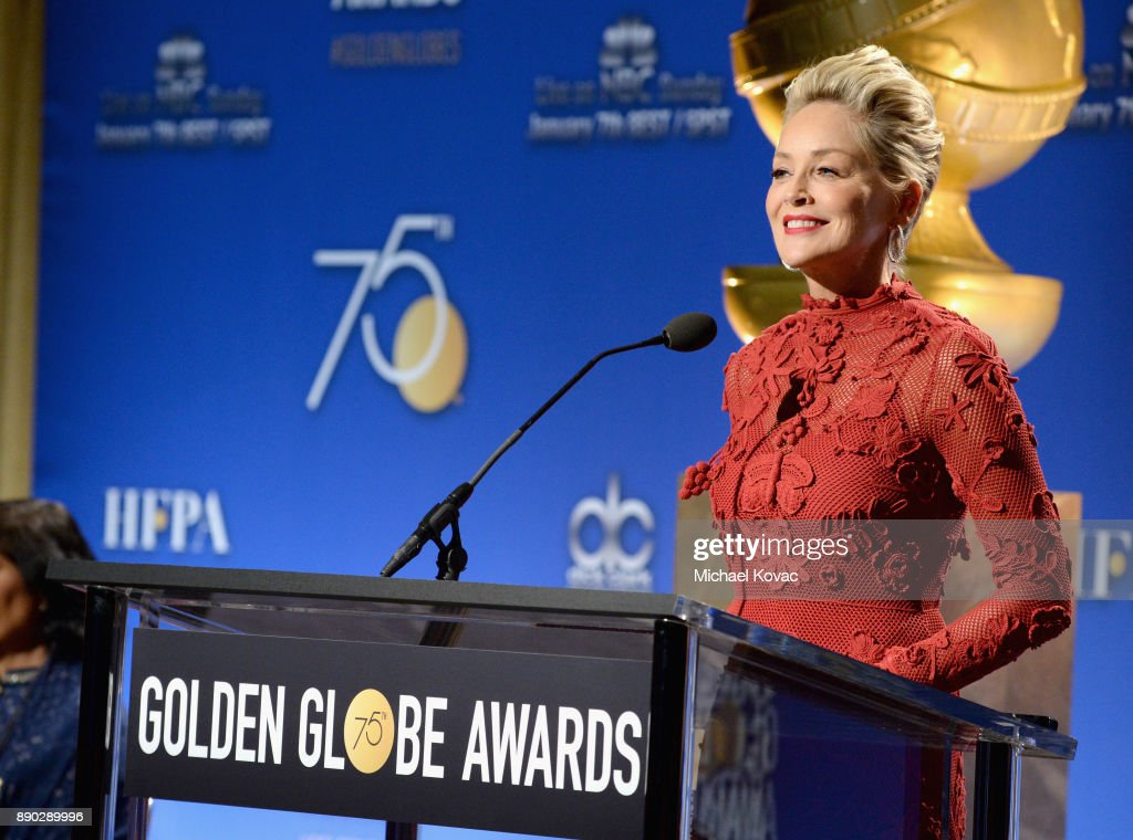 Actor Sharon Stone speaks during Moet & Chandon Toasts The 75th Annual Golden Globe Awards Nominations at The Beverly Hilton Hotel on December 11, 2017 in Beverly Hills, California.