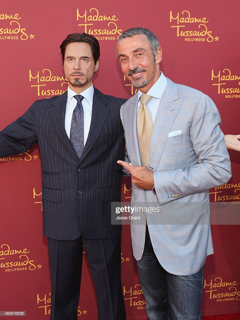 Actor Shaun Toub poses alongside a Madame Tussauds Hollywood MARVEL wax figure during the 'Guardians of The Galaxy' premiere at the Dolby Theatre on July 21, 2014 in Hollywood, California.