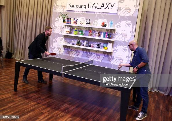 Actor Shawn Ashmore and director Marcos Siega attend the Samsung Galaxy VIP Lounge during ComicCon International 2014 at Hard Rock Hotel San Diego on...