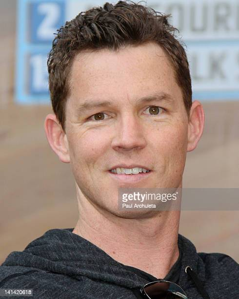 Actor Shawn Hatosy of TNT's 'Southland' updates the NCAA tournament brackets at the Hollywood Highland Courtyard on March 15 2012 in Hollywood...